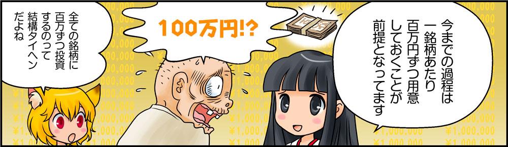 仕掛けチャンスに1銘柄あたり100万円ずつ用意しておくことが前提